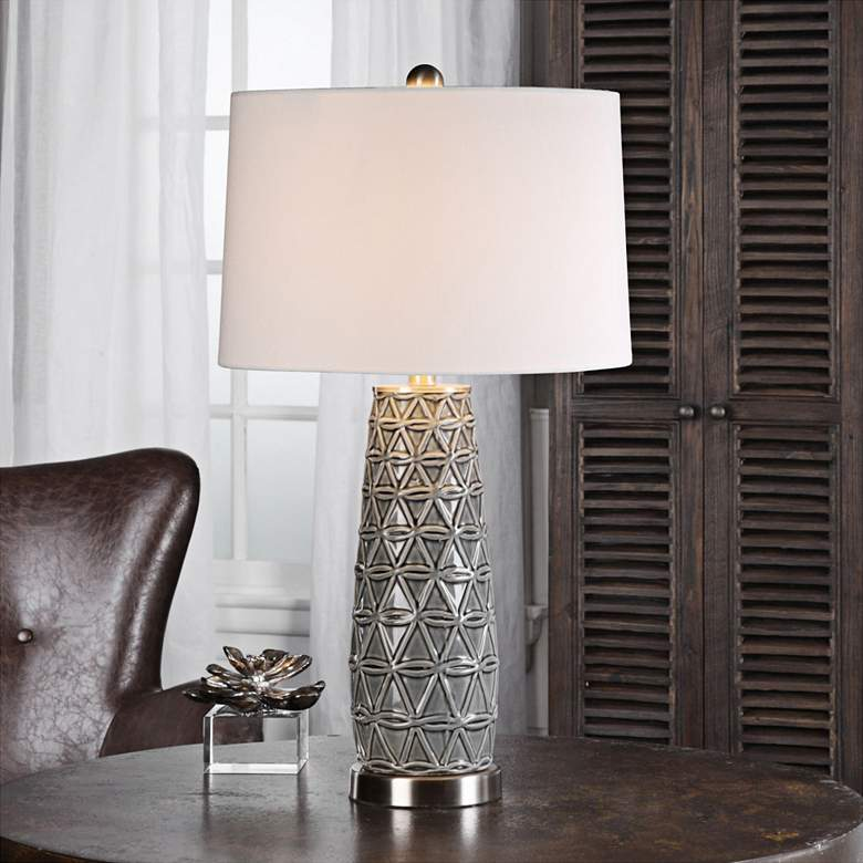 Uttermost Cortinada Stone Gray Glazed Ceramic Table Lamp