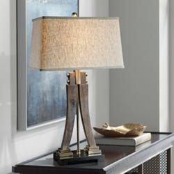 Uttermost Yerevan Distressed Wood Sculptural Table Lamp