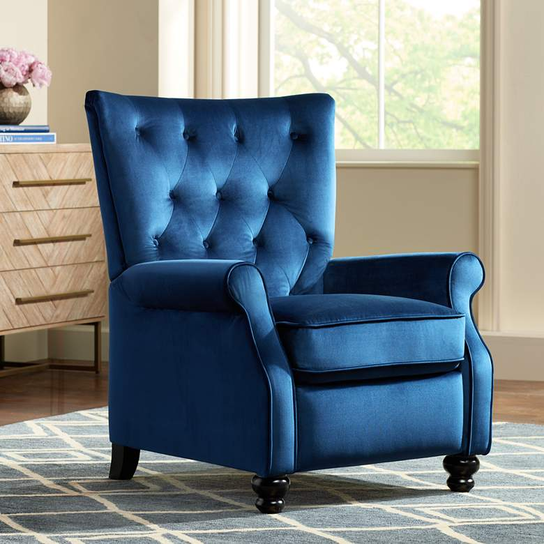 Bryce Blue Tufted Push Back Recliner Chair 9w497