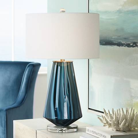 Uttermost Pescara Teal Gray Glass Blue Swirl Table Lamp