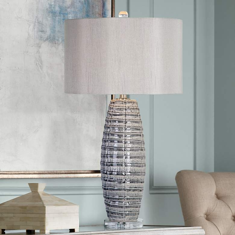 Uttermost Brescia Smoke-Gray Ribbon Ceramic Table Lamp