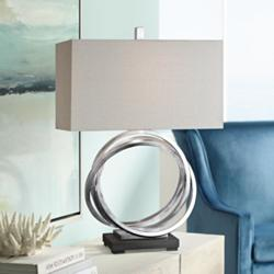 Uttermost Soroca Silver Leaf Metallic Rings Table Lamp