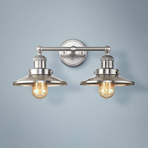 "English Pub 8"" High Satin Nickel 2-Light Wall Sconce"