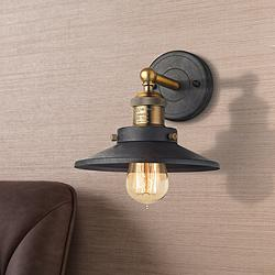 "English Pub 8""H Brass and Tarnished Graphite Wall Sconce"