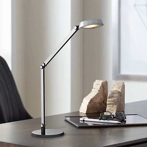 Dimond Mission Modern Disc Chrome and Black LED Task Lamp