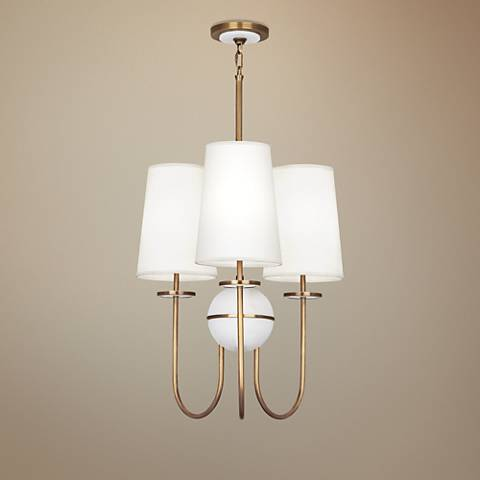 "Fineas 22 1/2"" Wide Off-White Shade Aged Brass Chandelier"