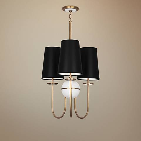 "Fineas 22 1/2"" Wide Black Shade Aged Brass Chandelier"