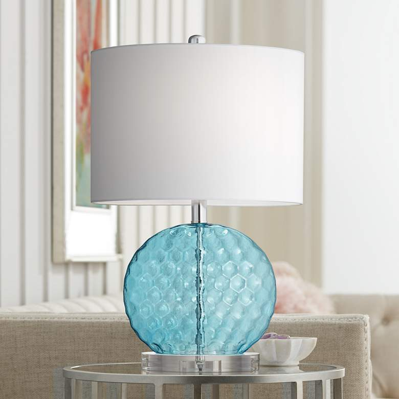Nancy Wavy Blue Glass Table Lamp