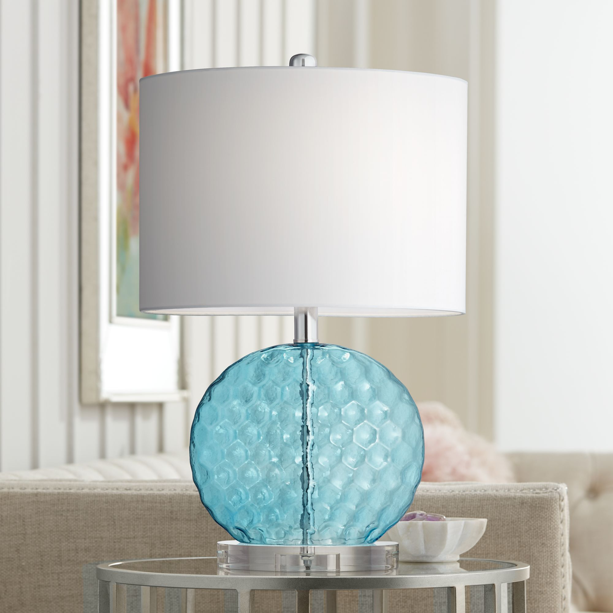 Beau Nancy Blue Glass Table Lamp