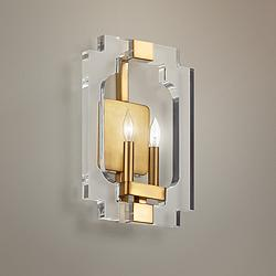 "Quorum Broadway 15"" High 2-Light Aged Brass Wall Sconce"