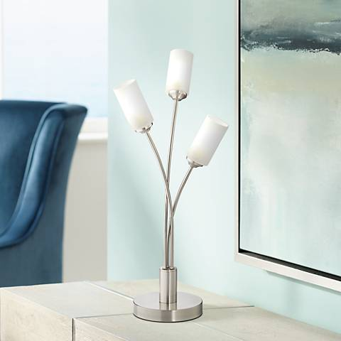 Possini Euro Lara Brushed Steel 3-LED Accent Table Lamp