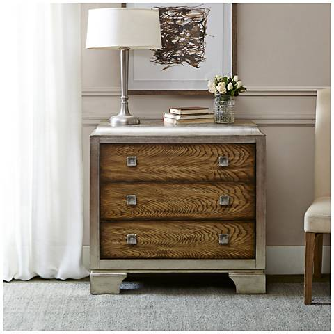 Manor Silver and Natural Wood 3-Drawer Accent Chest
