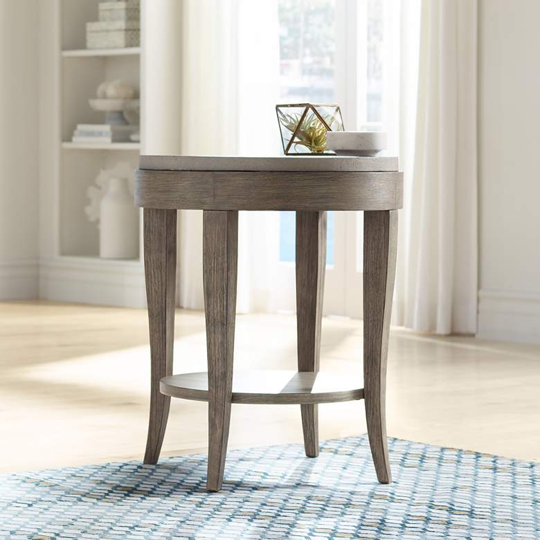 "Deka 24"" Wide Birch Wood and Concrete Accent Table"