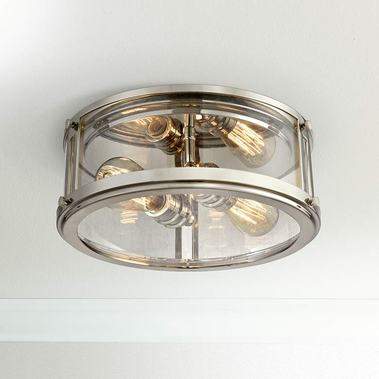 "Coby 13"" Wide Polished Nickel 2-Light Ceiling Light"