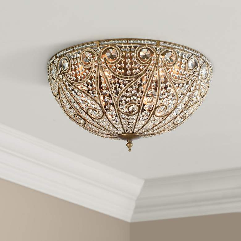 "Elizabethan 28"" Wide Dark Bronze 10-Light Ceiling Light"
