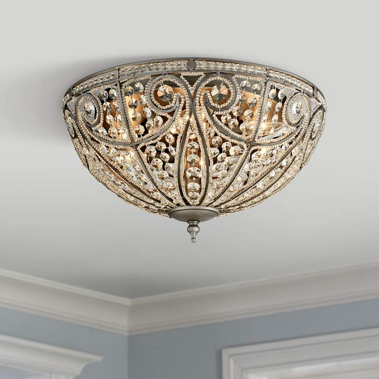 "Elizabethan 17"" Wide Weathered Zinc 6-Light Ceiling Light"