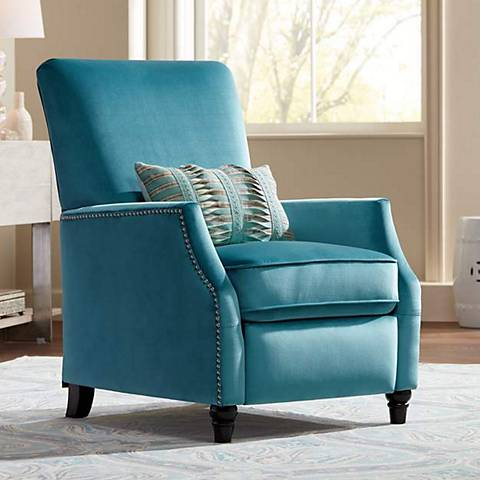Katy Turquoise Velvet Push Back Recliner Chair