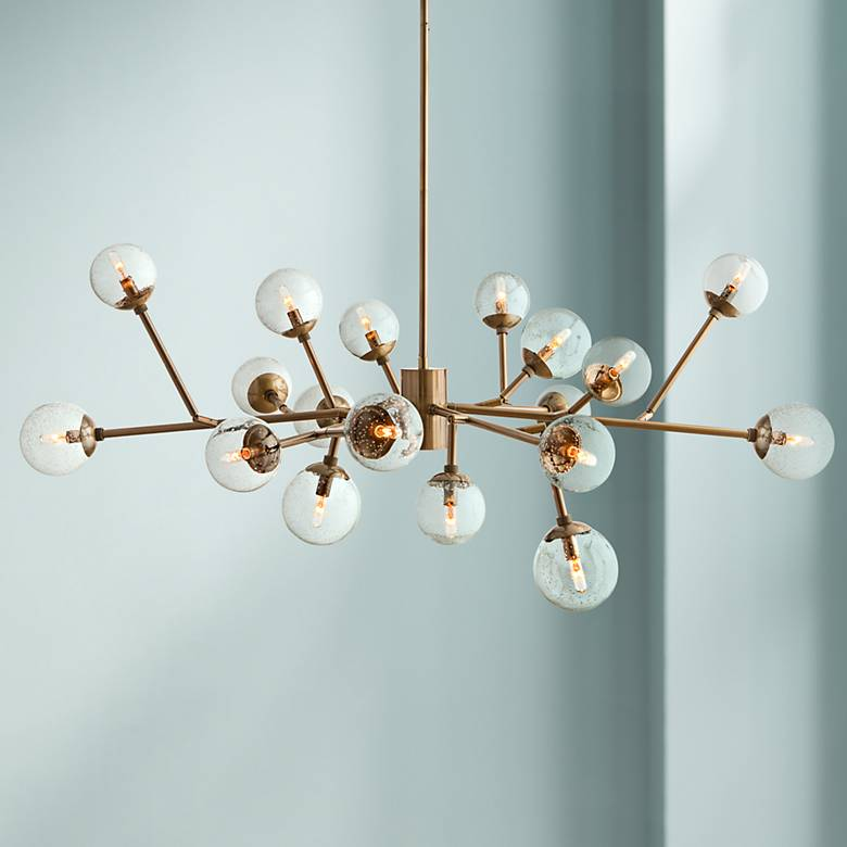 "Arteriors Home Dallas 58"" Wide Vintage Brass Chandelier"