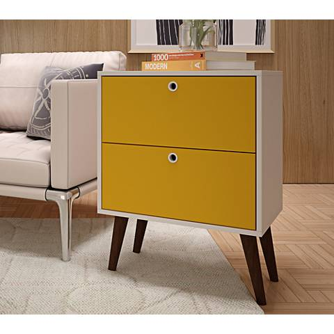 Taby Yellow and White Wood 2-Drawer Nightstand