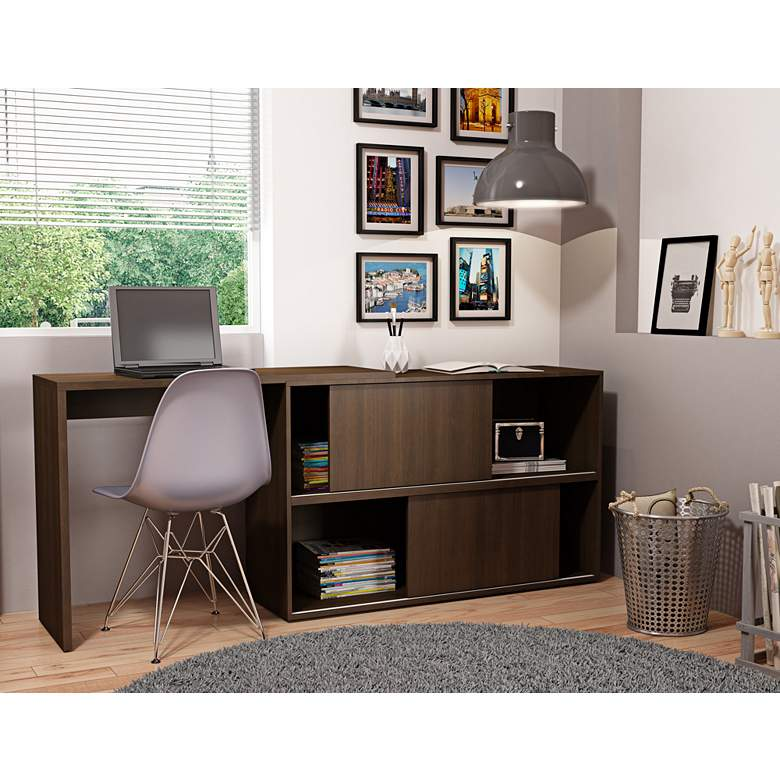 "Bari 42 1/4"" Wide Tobacco Wood 2-Door Bookcase Desk"