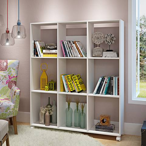 Natal 3.0 White Wood 9-Shelf Bookcase with Casters