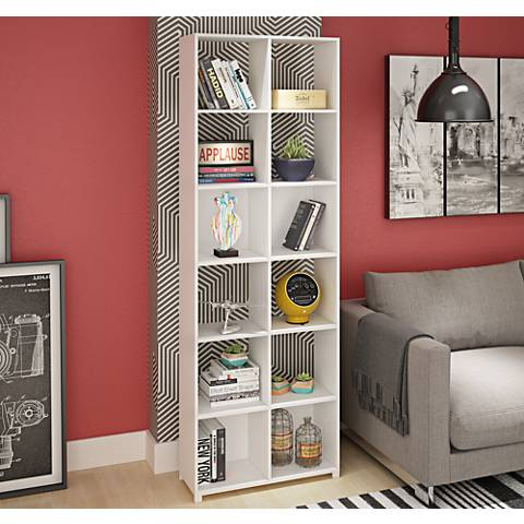 Natal 1.0 White Wood 12-Shelf Bookcase