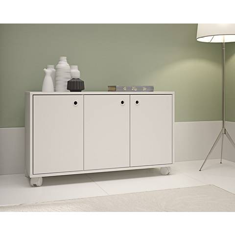 Dali White Wood 3-Door Cabinet with Casters