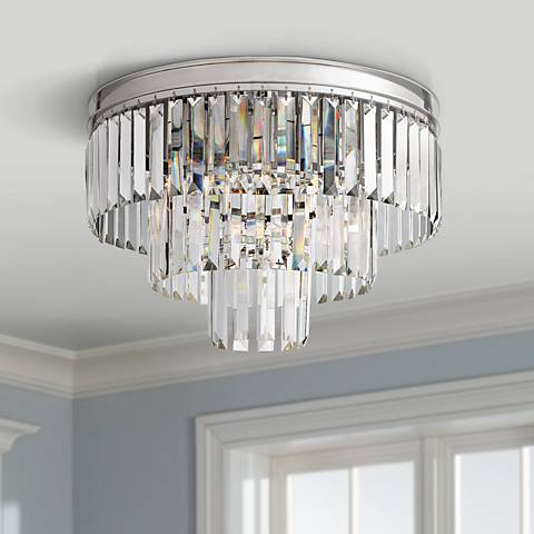 "Palacial 19"" Wide Polished Chrome 3-Light Ceiling Light"