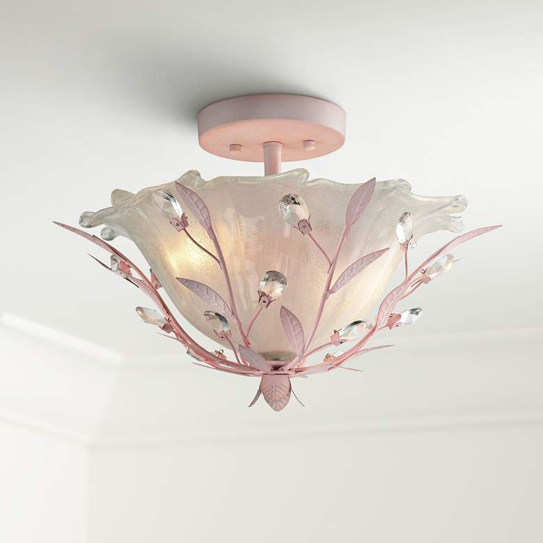 "Circeo 17"" Wide Light Pink 2-Light Ceiling Light"