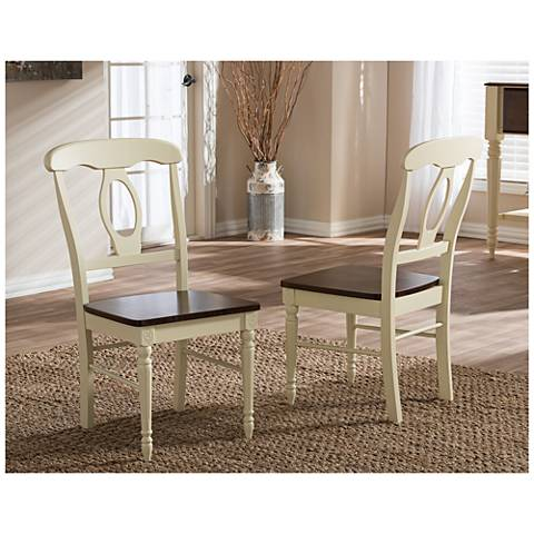 Baxton Studio Napoleon Buttermilk Wood Dining Chair Set of 2