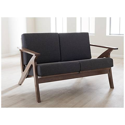 Baxton Studio Cayla Gray and Walnut 2-Seater Loveseat Settee
