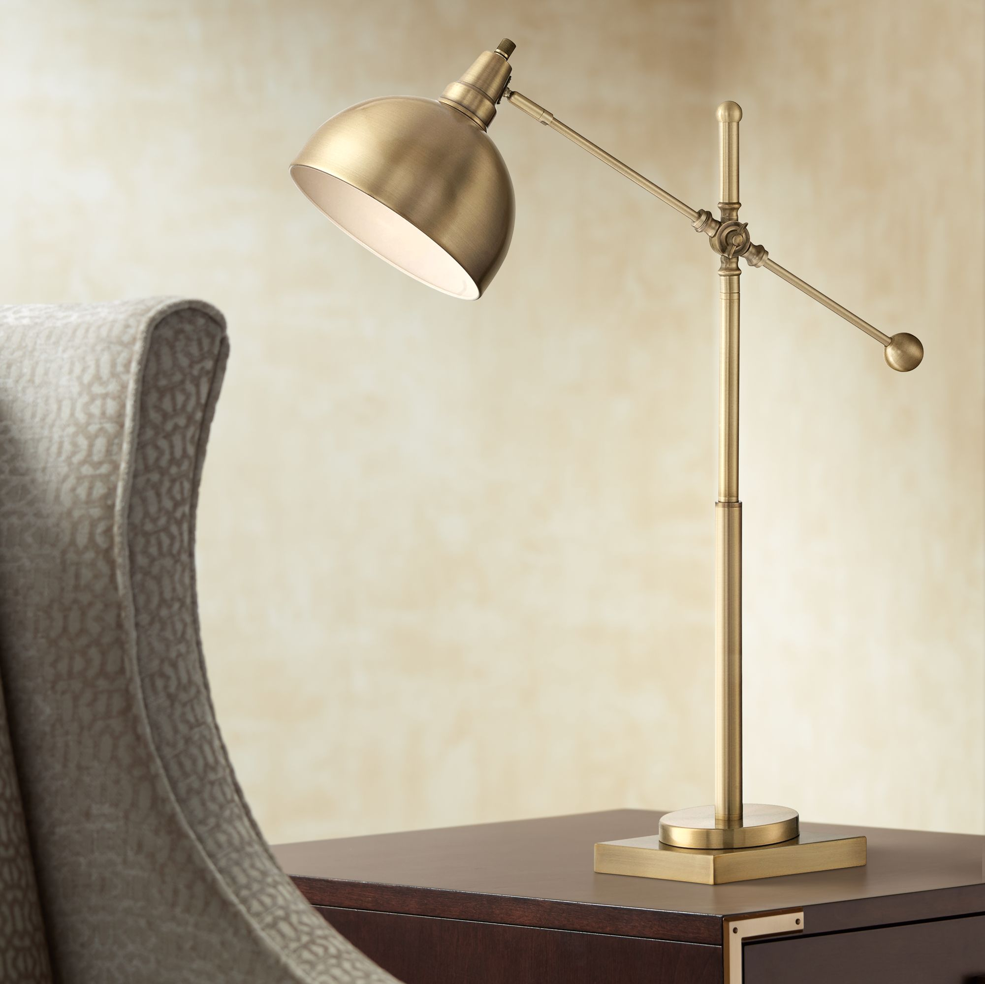 Lite Source Cupola Brushed Brass Desk Lamp