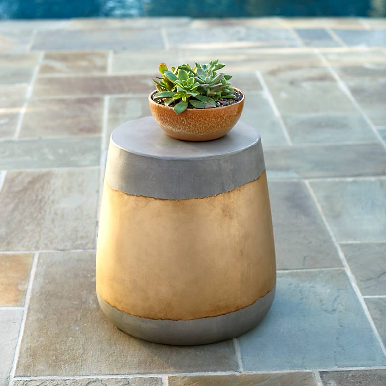 "Aries 16 1/4"" High Gold Concrete Indoor-Outdoor Side Table"
