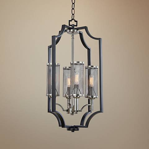 "Artcraft Oxford 14""W Matte Black Mesh Cage 4-Light Pendant"