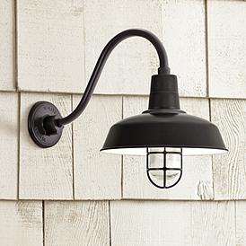 Warehouse 19 H Clear Gl Gooseneck Outdoor Wall Light