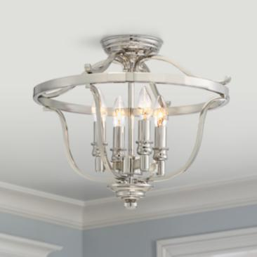 "Audrey's Point 17 1/4"" Wide Polished Nickel Ceiling Light"