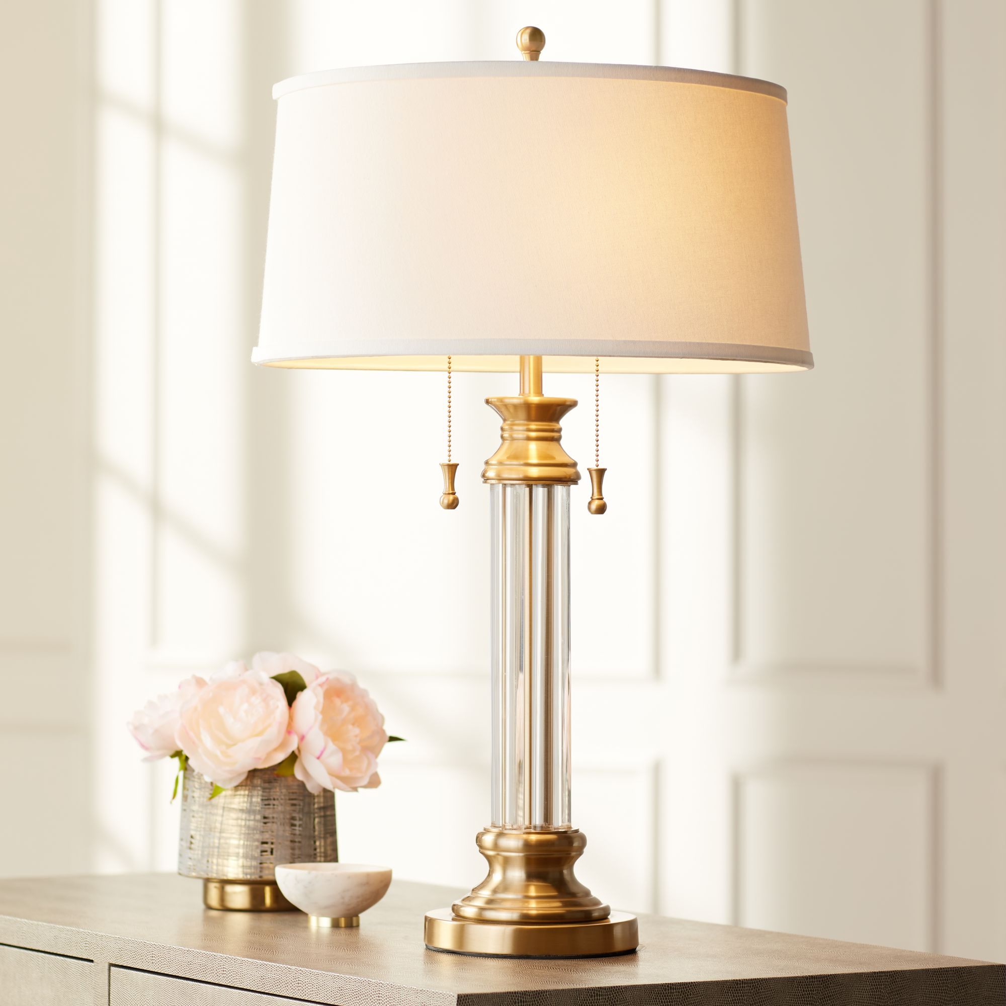 Rolland Brass And Crystal Column Table Lamp
