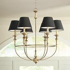 Lufkin 28 Wide Antique Brass 6 Light Chandelier