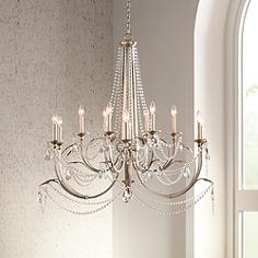 Large 31 in wide and up entryway chandeliers lamps plus strand 46 wide silver leaf 12 light chandelier aloadofball Choice Image