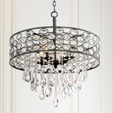 "Ellena 24"" Wide 4-Light Black Crystal Pendant Light"