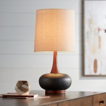 Andi Mid-Century Ceramic and Wood Table Lamp