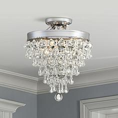 Crystal semi flush mount close to ceiling lights lamps plus crystal teardrop 11 aloadofball Choice Image