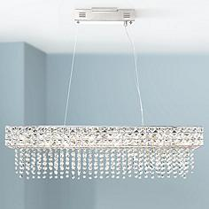 Chrome linear pendant lighting lamps plus marais 36 wide rectangular crystal led island pendant mozeypictures