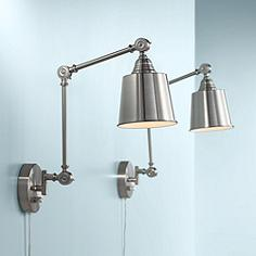 Swing arm wall lamp designs bedroom and more lamps plus canada set of 2 mendes brushed steel plug in wall lamps aloadofball Image collections