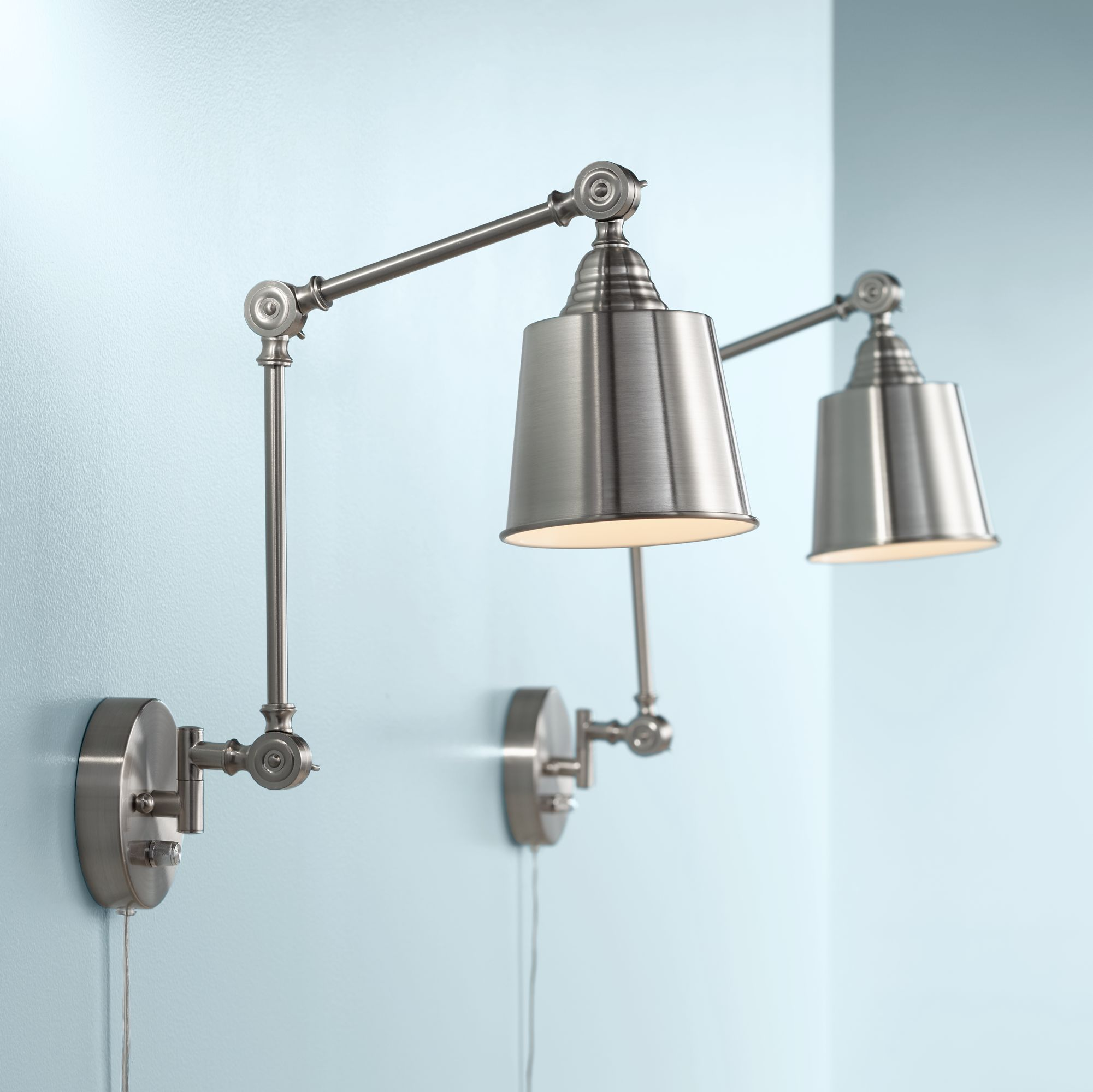 Superieur Set Of 2 Mendes Brushed Steel Plug In Wall Lamps