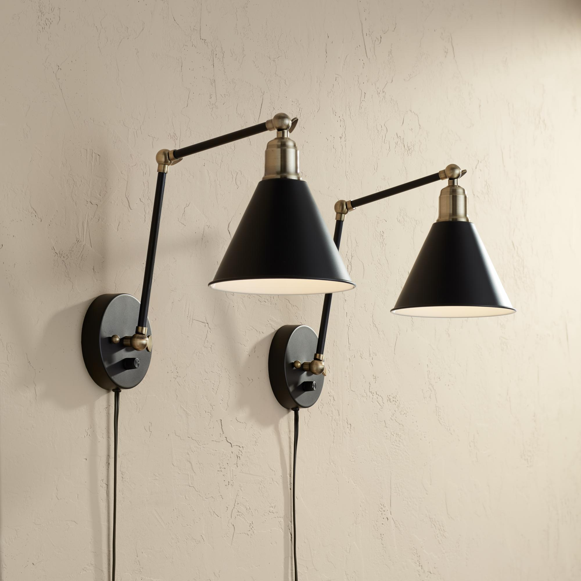 Wray Black And Antique Brass Plug In Wall Lamp Set Of