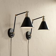 Contemporary wall lamps lamps plus wray black and antique brass plug in wall lamp set of 2 mozeypictures Images