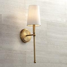 Brass antique brass sconces lamps plus greta 21 high warm brass wall sconce with linen shade aloadofball Choice Image