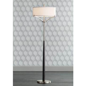 Avery Black and Brushed Nickel Column Floor Lamp