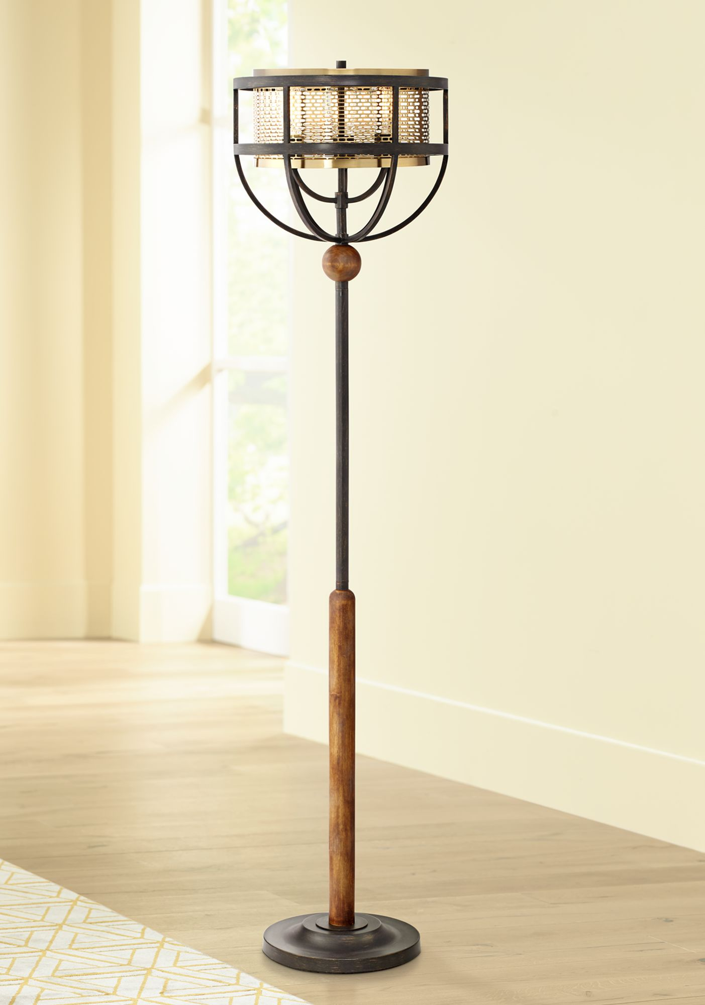 Franklin Iron Works Westin Floor Lamp With Edison Bulbs